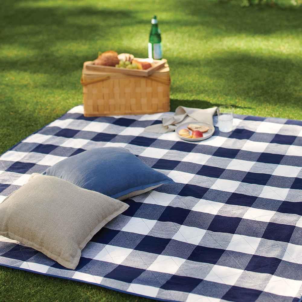 Check Picnic Blanket Blue/White - Threshold™