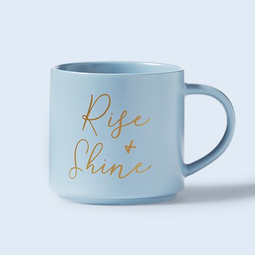 16oz Stoneware Rise and Shine Stacking Mug Blue - Threshold™