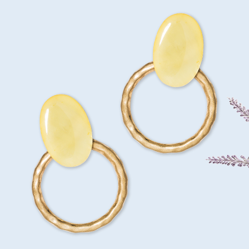 Shell and Hammered Metal Open Circle Drop Earrings - A New Day™ Yellow