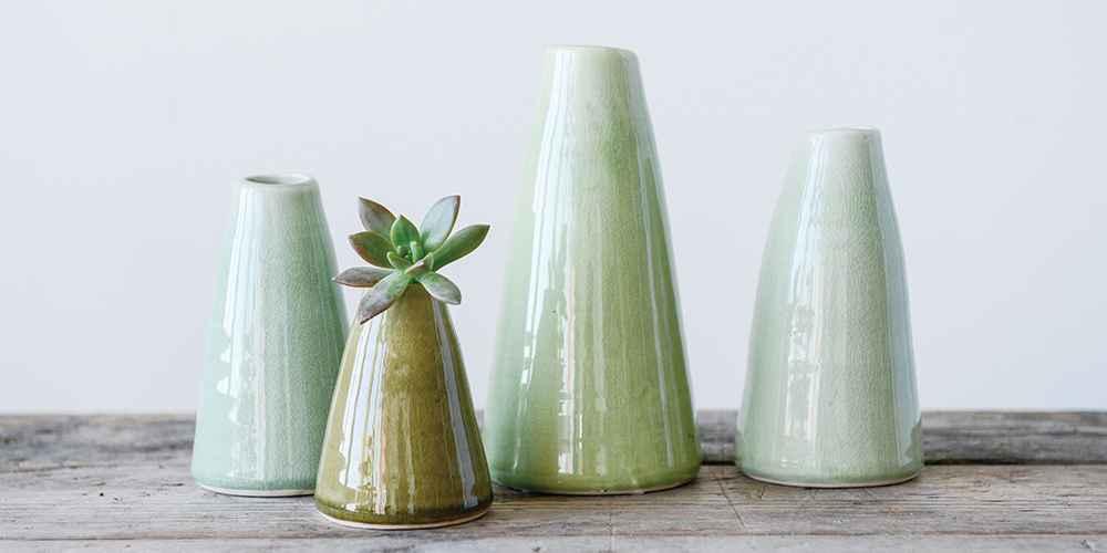 4pc Decorative Terracotta Vases Green - 3R Studios