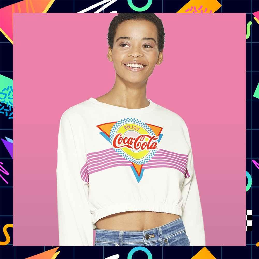 Women's Coca Cola Graphic Cropped Sweatshirt (Juniors') - White