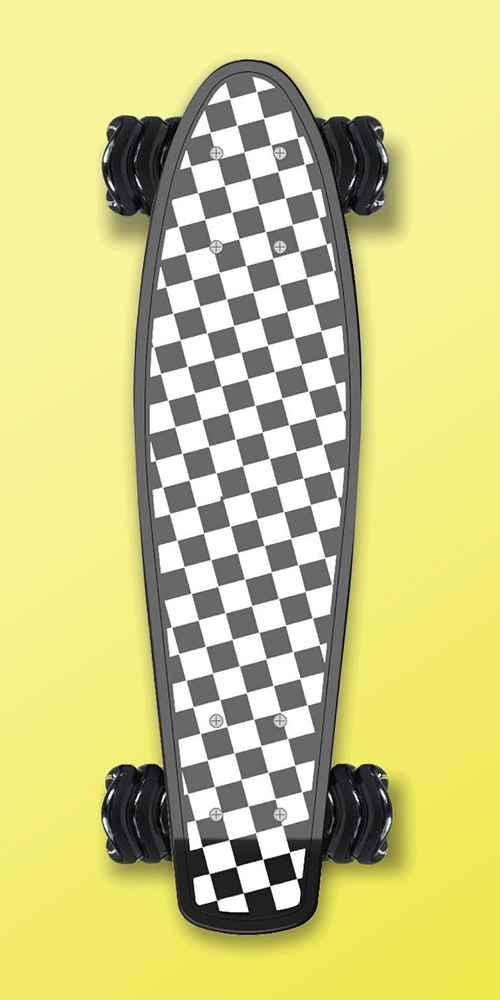 Fathom by Shark Wheel Cruiser Skateboard 22 inch Barracuda Series, Checkered