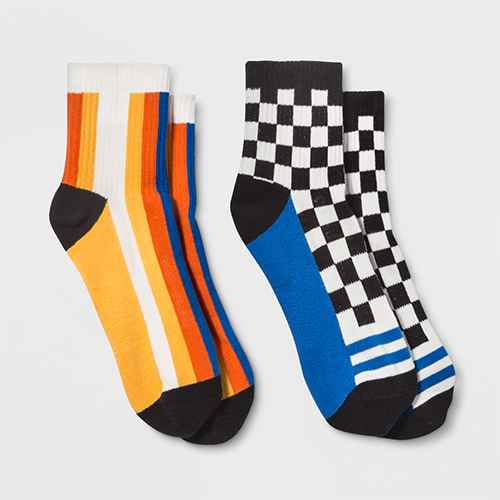 Pair of Thieves Men's Striped 2pk Ankle Socks - Black/White/Orange 8-12