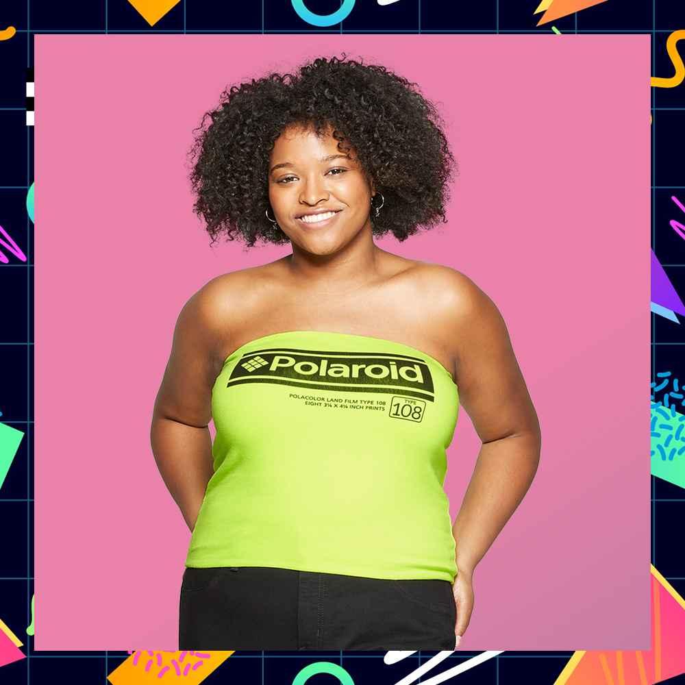 Women's Polaroid Plus Size Graphic Tube Top - (Juniors') - Neon Green