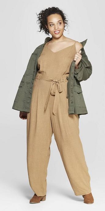 Women's Plus Size Sleeveless V-Neck Belted Jumpsuit - Universal Thread™ Tan
