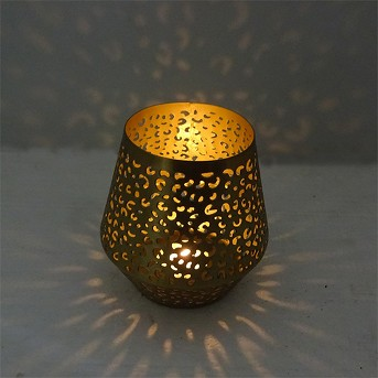 Perforated Leopard Print Outdoor Lantern Candle Holder Gold - Opalhouse™