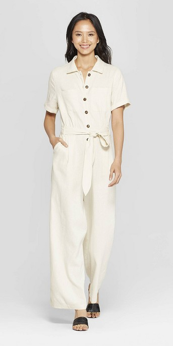 Women's Short Sleeve Button-Down Belted Utility Jumpsuit - Who What Wear™ Cream