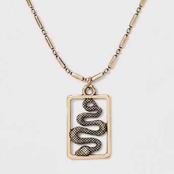 Framed 3D Snake Pendant Necklace - Wild Fable™ Gold