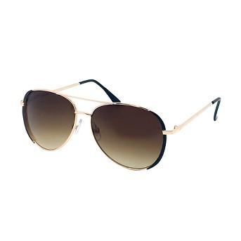Women's Aviator Sunglasses with Black Accents - Black