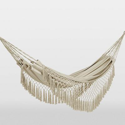 Flat Weave Macrame Fringe Hammock Natural - Opalhouse™