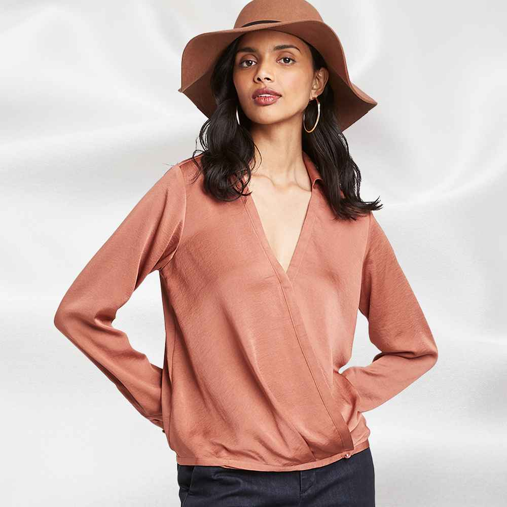 Women's Long Sleeve V-Neck Satin Top - A New Day™