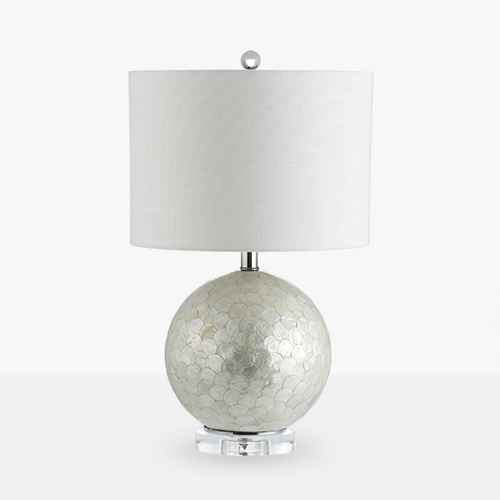 "23.5"" Zuri Capiz Seashell Sphere LED Table Lamp Pearl (Includes Energy Efficient Light Bulb) - JONATHAN Y"