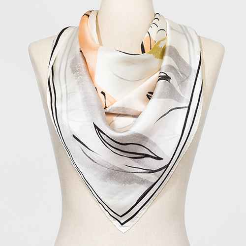 Women's Large Square Floral Print Silk Scarf - A New Day™ Cream One Size