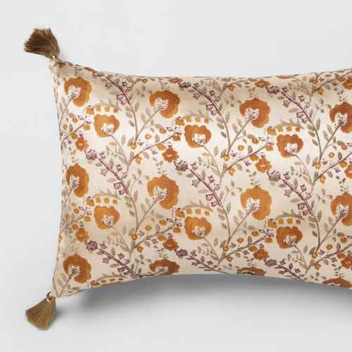 Oblong Vintage Satin Floral Throw Pillow Cream - Opalhouse™
