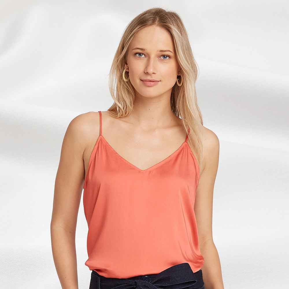 Women's V-Neck Satin Cami -A New Day™ Red