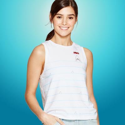 Women's JAWS Sleeveless Embroidery Tank Top (Juniors') - White