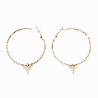 Faceted Casted Shark Tooth Charm Hoop Earrings - Wild Fable™ Gold