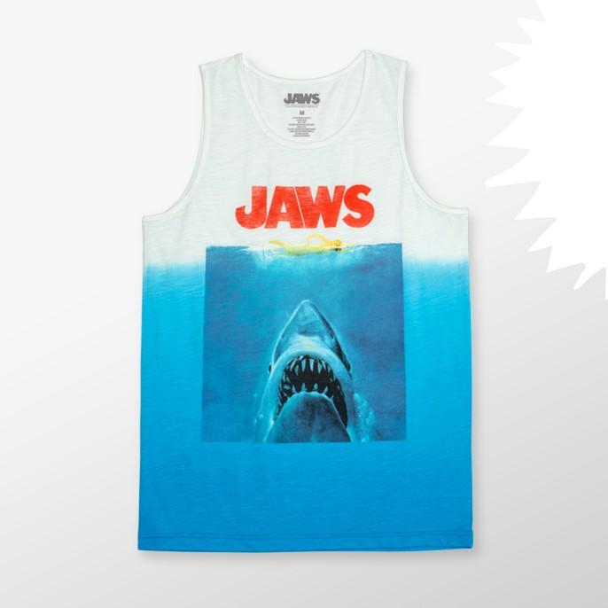 Men's Jaws Sleeveless Graphic Tank Top Blue Tie Dye