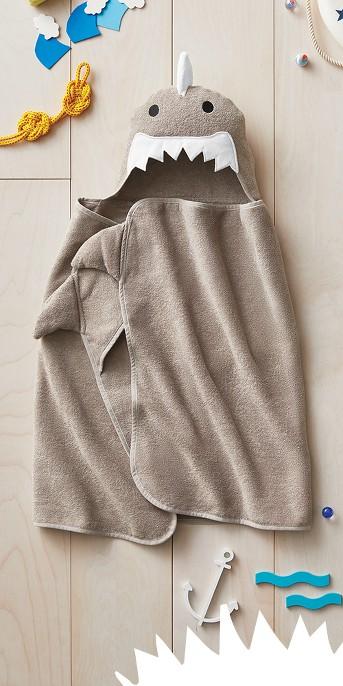 Shark Hooded Bath Towel Gray Marble - Pillowfort™