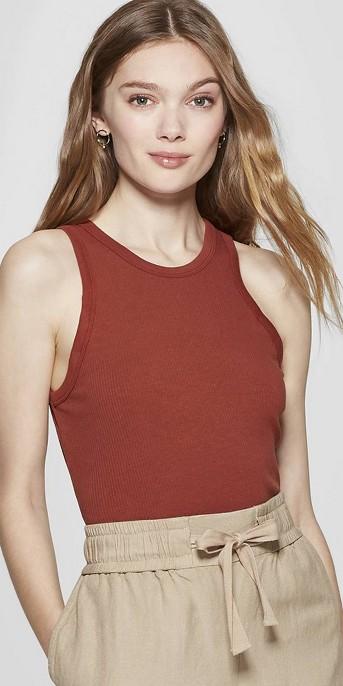 Women's Slim Fit Sleeveless Crewneck Rib Halter Tank - A New Day™