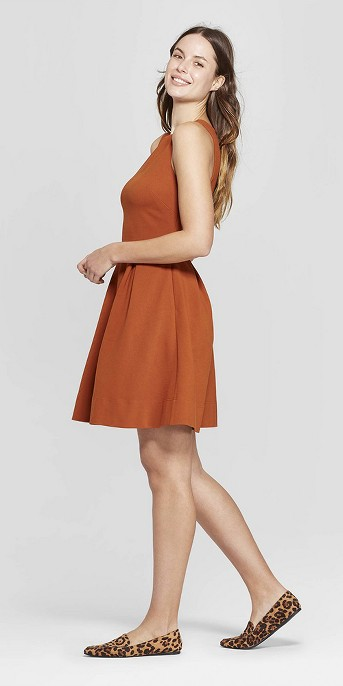 Women's Relaxed Fit Sleeveless Crewneck Fit and Flare Ponte Dress - A New Day™