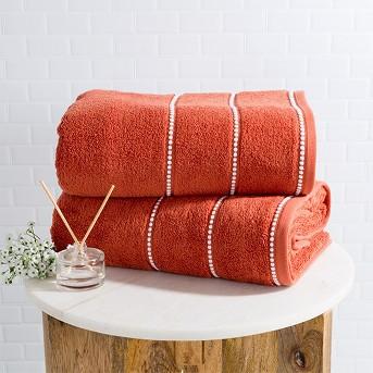 2pc Luxury Cotton Bath Towels Sets Brick/White - Yorkshire Home