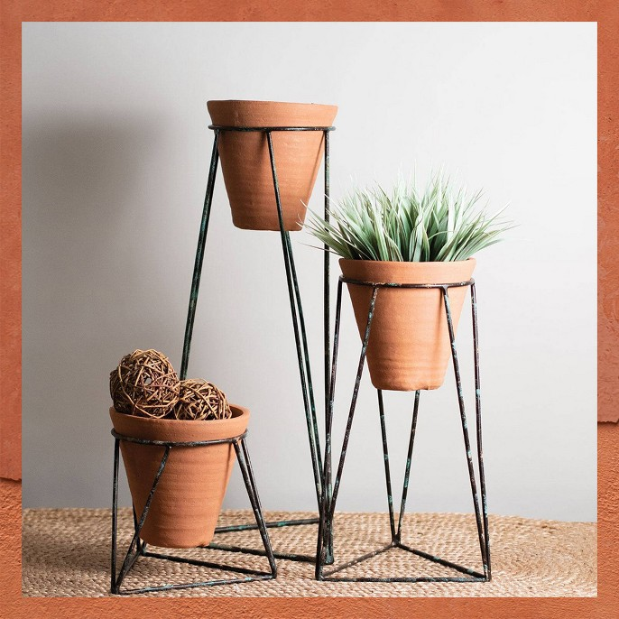 3pc Terracotta Planters Brown - Foreside Home & Garden