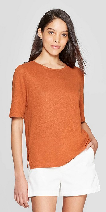 Women's Elbow Sleeve Linen Crewneck Basic T-Shirt - A New Day™