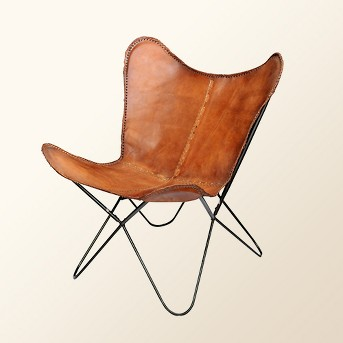 Elite Top Grain Leather Butterfly Chair Brown - A&B Home