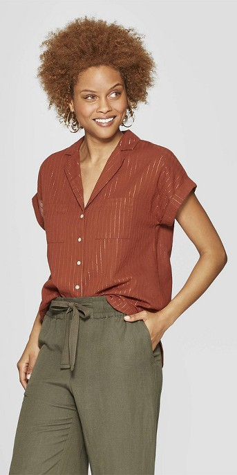 Women's Striped Short Sleeve Collared Resort Shirt - A New Day™ Brown