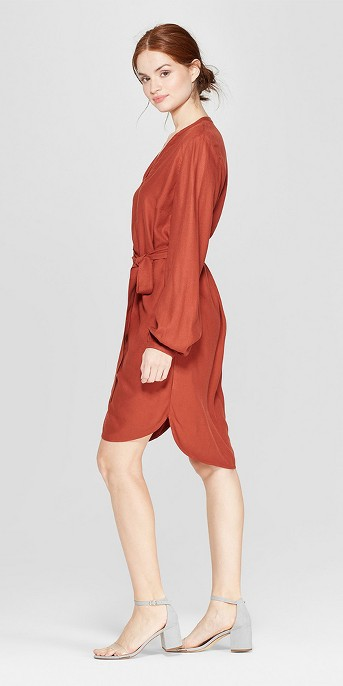 Women's Long Sleeve Crepe Shirtdress - A New Day™