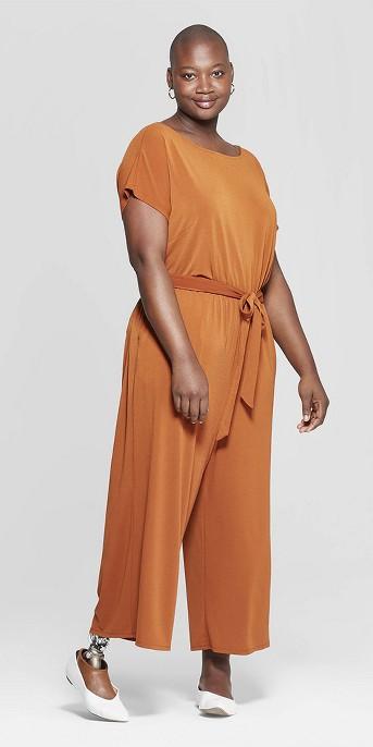 Women's Plus Size U-Neck Knit Jumpsuit - Ava & Viv™