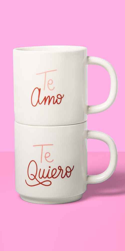 16oz 2pk Stoneware Te Amo and Te Quiero Mug Set White - Opalhouse™