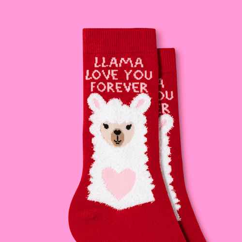 """Women's """"Llama Love You Forever"""" Valentine's Day Crew Socks - Red One Size"""