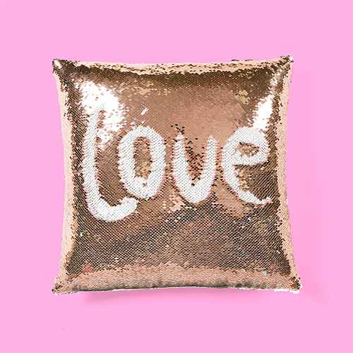 Mermaid Sequins Throw Pillow Pink/White - Lush Dcor