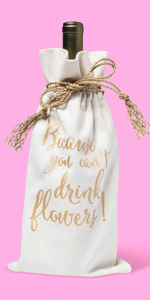 'You Can'T Drink Flowers' Wine Bag Gold - Spritz™