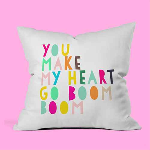 """18""""x18"""" You Make My Heart Go Boom Boom Throw Pillow Yellow - Deny Designs"""