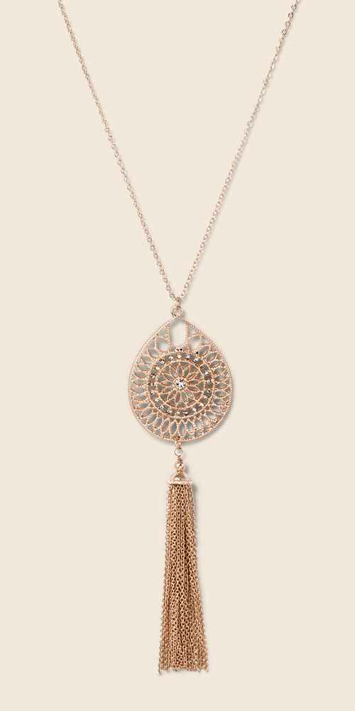 Tassel & Filigree Cut Out Long Necklace - A New Day™ Rose Gold/Clear