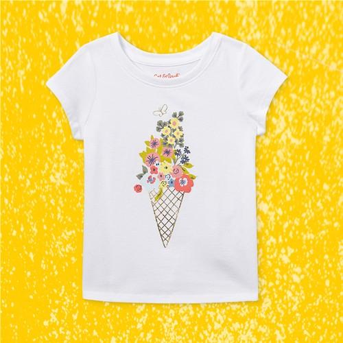Toddler Girls' Floral Ice Cream Short Sleeve T-Shirt - Cat & Jack™ White 3T