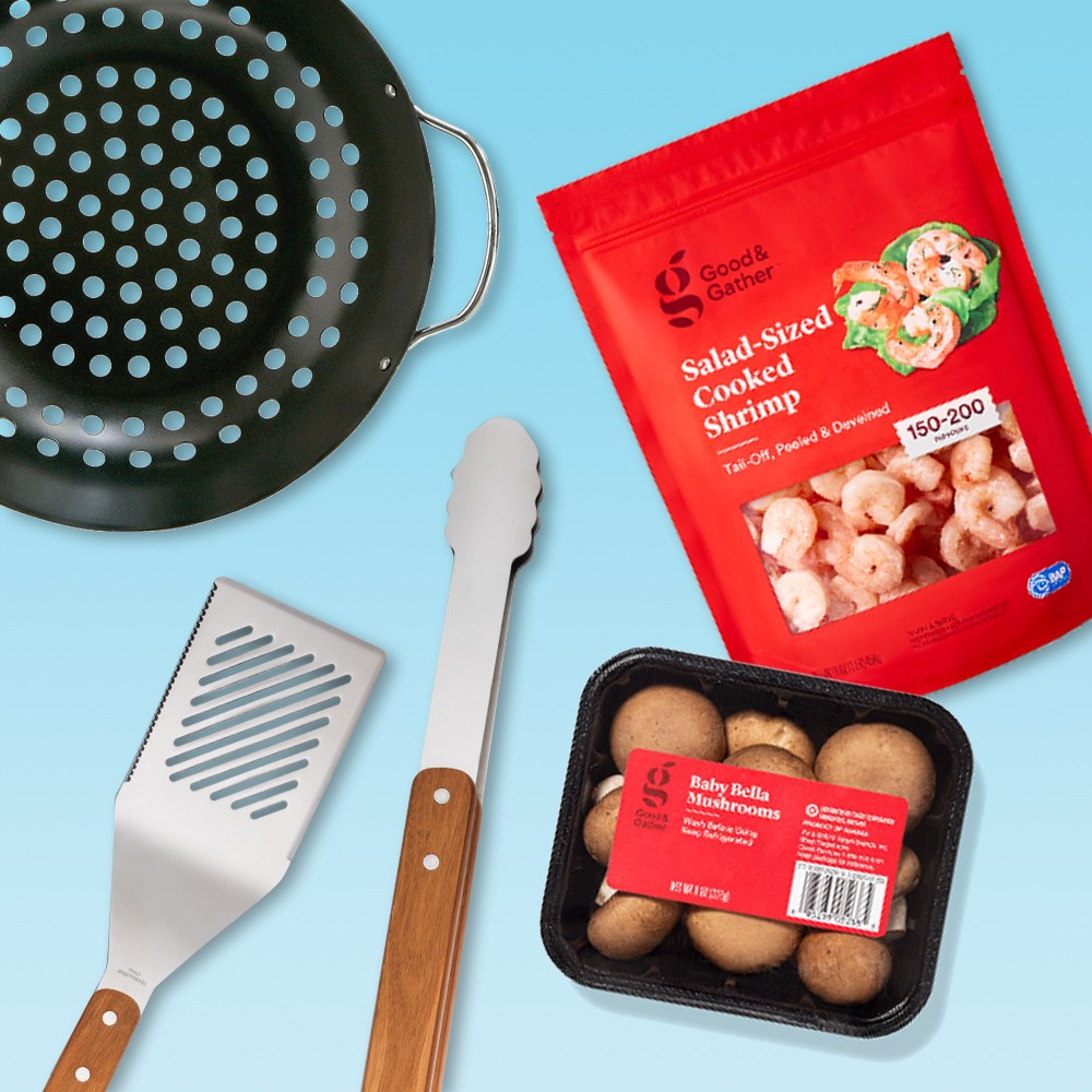 Non-Stick Grilling Bowl - Room Essentials™, Baby Bella Mushrooms - 8oz - Good & Gather™, Salad-Sized Cooked Frozen Shrimp, Tail-Off, Peeled & Deveined - 150-200ct per pound/16oz - Good & Gather™, SS Tool Set 7pc - Room Essentials™