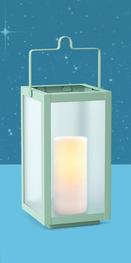 "10"" Rectangular Pillar Outdoor Lantern Candle Holder Mint - Room Essentials™"