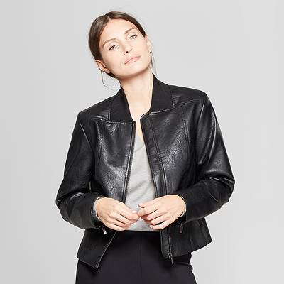 Women's Long Sleeve Collared Moto Jacket - Prologue™ Black