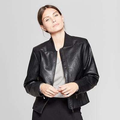 Women's Long Sleeve Collared Moto Jacket - Prologue™ Black