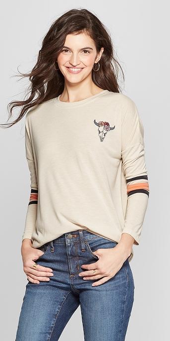Women's Long Sleeve Skull Graphic T-Shirt - Mighty Fine (Juniors') Gray