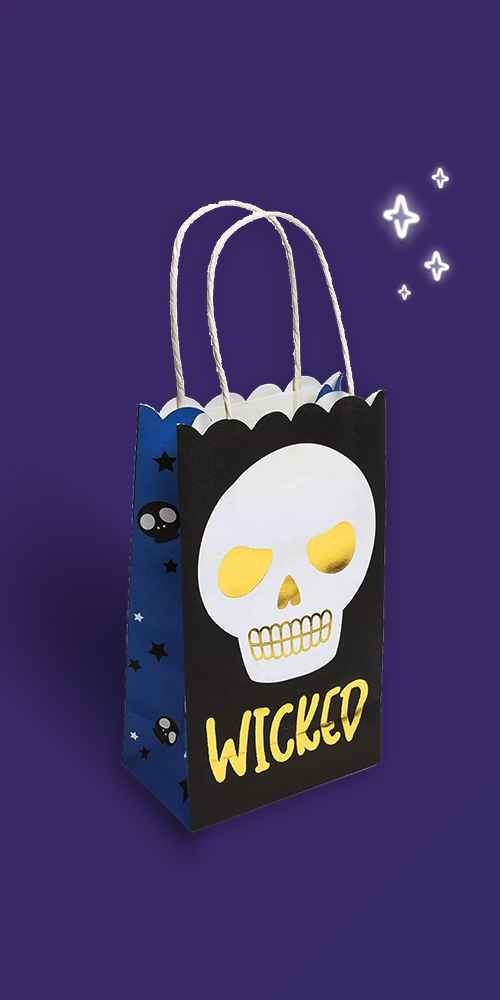 Spooky Central 24-Pack Halloween Paper Party Favor Bags Small Gift Bags with Handles (Gold Foil, 5 x 9 x 3 In)
