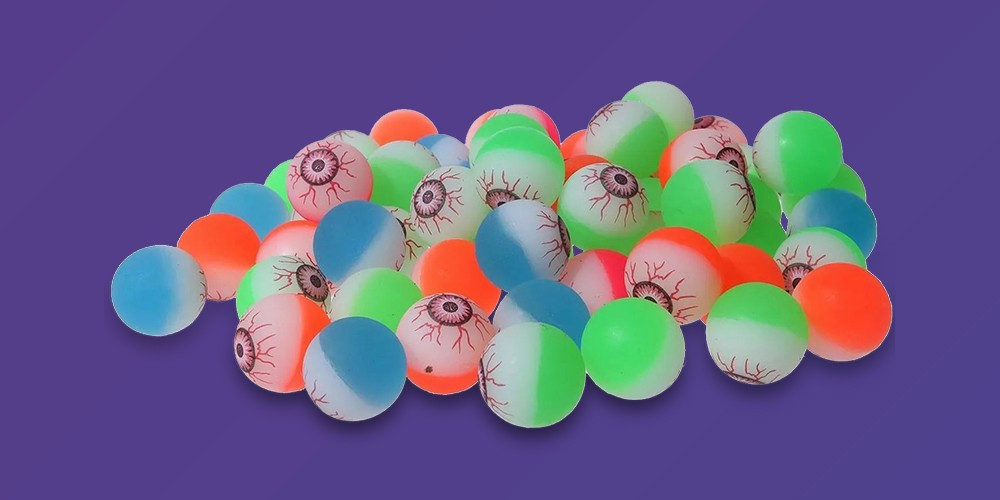 Juvale 60-Count Eyeball Bouncy Balls Halloween Party Favors Supplies, 1.25 inches In Diameter