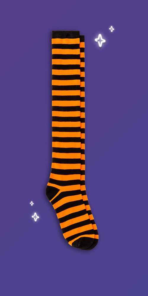 Women's Striped Halloween Over the Knee Socks - Hyde & EEK! Boutique™ Orange/Black 4-10