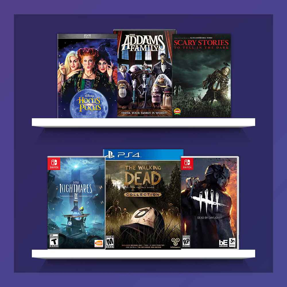 Hocus Pocus (DVD), Addams Family (2019) (DVD), Scary Stories To Tell In The Dark, Little Nightmares II - Nintendo Switch, The Walking Dead: The Telltale Series Collection - PlayStation 4 , Dead by Daylight: Definitive Edition for Nintendo Switch