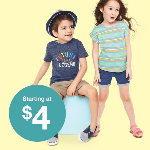 Clothes for everyday play Starting at $4, toddlers' & kids' tees, tanks & shorts.