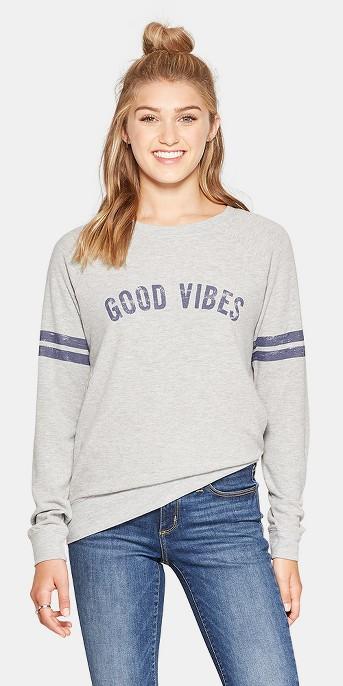 Women's Good Vibes Graphic Pullover Sweatshirt - Grayson Threads (Juniors') Heather Gray